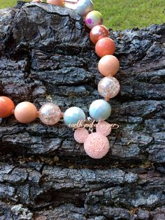 Floral Coral Minnie Bubble Gum Chunky Bead by EarthMetalPaper