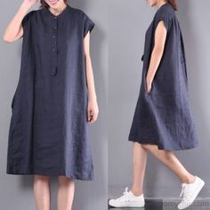 navy casual linen dresses plus size button sundress short sleeve maxi dressThis dress is made of cotton linen fabric, soft and breathy, suitable for summer, so loose dresses to make you comfortable all the time. Lovely Dresses, Simple Dresses, Plus Size Dresses, Loose Dresses, Casual Dresses, Casual Outfits, Short Sleeve Dresses, Dress With Sneakers, Modern Outfits