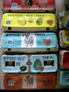 We recycle paper cartons that customers bring us. But we can't just drop our lovely eggs into a blah looking carton. So Mrs. Judy Rubin creates via decoupage, each carton by hand. Amazing, right!
