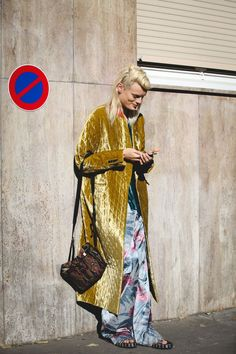 """The Best """"What IS She Wearing?"""" Looks From Paris #refinery29 http://www.refinery29.com/2015/10/95202/paris-fashion-week-spring-2016-street-style-pictures#slide-26 No need to get your pants hemmed...."""