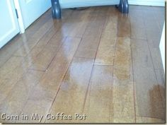 Brown paper floors made to look like wood floors...I am SO doing this!!