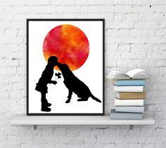 Girl with dog print, Moon print, Dog poster, Kissing her dog, Nursery wall decor, Christmas gift, Dog silhouette, Art, InstantDownloadArt1