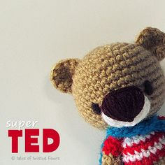 Super TED, a 4-inch #amigurumi #superhero! Download this free pattern from my blog.  #crochet #teddybear #toy #design