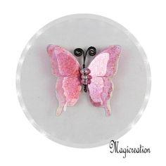 BRELOQUE PAPILLON 3D ROSE - Boutique www.magicreation.fr