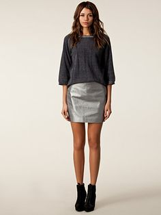 Leather Skirt - Filippa K - Grå - Kjolar - Kläder - Kvinna - Nelly.com