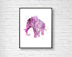 Elephant Watercolor Art Print Elephant Print Home Wall by QPrints