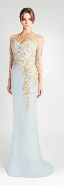 Georges Hobeika     blue dress with gold leaves