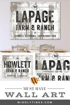 Farm & Ranch Cattle Family Name Established Sign White - Widdlytinks Wall Art Modern Farmhouse Decor, Rustic Wall Decor, Rustic Walls, Rustic Signs, Entryway Decor, Farmhouse Signs, Wall Decor Design, Unique Wall Decor, Wall Art Decor