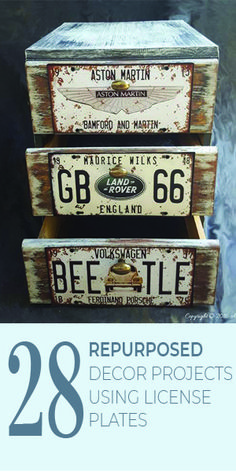 Lots of ideas to repurpose old license plates. Great for industrial chic style. Handmade Home Decor, Diy Home Decor, Cool License Plates, License Plate Ideas, Diy Craft Projects, Diy Crafts, Project Ideas, Industrial Chic Style, Easy Crafts For Kids