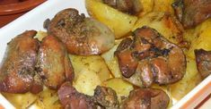 Oven baked with garlic spicy liver potatoes! Onion Recipes, Meat Recipes, Chicken Recipes, Dinner Recipes, Cooking Recipes, Healthy Recipes, Baked Cabbage, Liver And Onions, Hungarian Recipes
