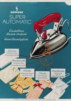 #Siemens #Iron Super Automatic – poster from 1939. // Siemens #Bügeleisen Super Automatic – ein #Plakat aus dem Jahr 1939. #Design #Historie #enjoysiemens