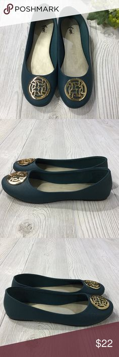 Ballet Flat w/ Gold Medallion Detail Ballet Flat w/ Gold Medallion Detail, Dark Teal w/ Gold Insole, Man Made Materials, Excellent Condition Fioni Shoes Flats & Loafers