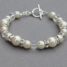 Ivory Pearl Bracelet Crystal Jewelry Bridal Bracelet by AMIdesigns, $24.00