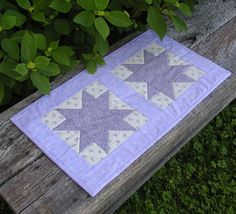 Purple Stars Quilted Table Runner by scarecrowcabin on Etsy