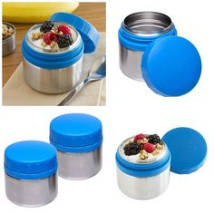 This set of 2 blue stainless steel containers are the perfect-sized, healthy way to pack your snacks to-go!   Featuring easy to open twist t...