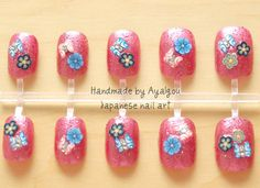 Japanese 3D fake nails 22pieces with adhesive and a by Aya1gou, $16.50