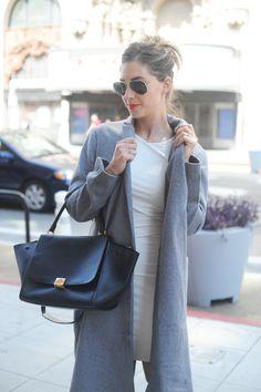 Androgynous Gray Coat, bag, lip color, and shades