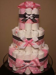 diaper+cakes | Pink and Black diaper cake, pink and black polka dots diaper cake