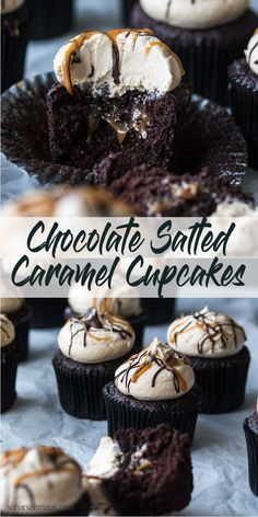 Salted Caramel Chocolate Cupcakes combine rich, moist chocolate cupcakes with and easy salted caramel filling and salted caramel buttercream. This is the best kind of indulgence, right here. via Cupcakes Salted Caramel Chocolate Cupcakes Easy Cheesecake Recipes, Easy Cookie Recipes, Dessert Recipes, Fast Recipes, Top Recipes, Recipes Dinner, Healthy Recipes, Food Cakes, Cupcake Cakes