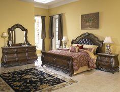 Alexandria 5 PC Bedroom Set (Queen Bed, Dresser, Mirror and 2 ...