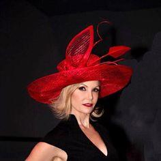 21b67df694d25 Red kentucky Derby hat. Derby gat. Couture hat. Designer hat. Fashion hat.  Wedding hat. Races. Royal ascot. Large hat