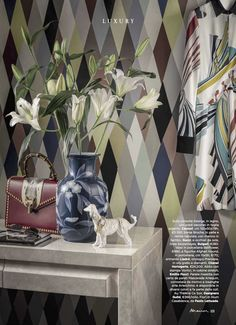 As well as a voile, the same colourful harlequin pattern comes in a wallpaper, 'Mascarade Arlequin', as seen here in Marie Claire Maison, Italy