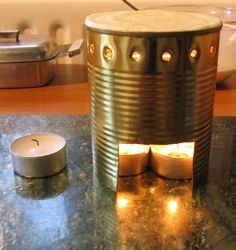 "The mini cooker is ideal for frying 3"" versions of English, American or Scotch pancakes. We have used a 500g fruit tin, but any similar sized tin-can will do. The cooking heat is provided by two tea light candles."