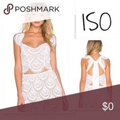 ISO FL&L Rosalita Crop Top | WHITE | Medium Will trade or purchase the For Love & Lemons Rosalita Crop Top! Size Medium. I have the skirt... just looking for the top. Pre loved is totally okay with me! For Love and Lemons Tops Crop Tops