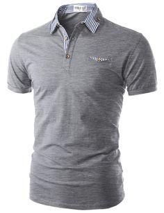 Doublju Men's Short Sleeve Polo Shirt with Neck Band Detail Polo T Shirts, Short Sleeve Polo Shirts, Casual T Shirts, Cool Shirts, Stylish Men, Men Casual, Moda Converse, Corporate Wear, Professional Dresses