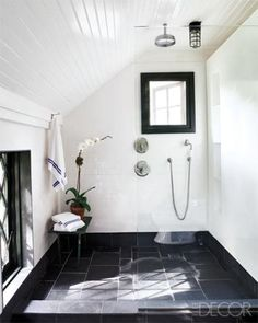 bathroom, black and white, shower, black tile