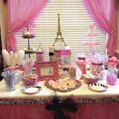 Pink Candy bar for Paris Theme girls Party