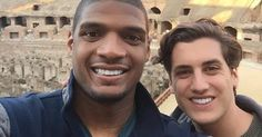 Michael Sam is engaged! The openly gay football player and his longtime boyfriend Vito Cammisano reportedly got engaged on a recent trip to Rome, as confirmed by a friend of the two who posted about. Lgbt Couples, Cute Couples, Lgbt Celebrities, Michael Sam, Proposal Photos, Getting Engaged, Cute Gay, Gay Couple, Celebrity Couples