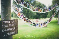 """tendal de fotos boda """"Encuentra tu foto y pegada en el álbum"""""""