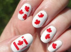Canadian nails - Canada Day crafts for kids and adults Love Nails, How To Do Nails, My Nails, Fingernail Designs, Nail Art Designs, Canada Day Crafts, Orchid Nails, Flag Nails, Artwork Design