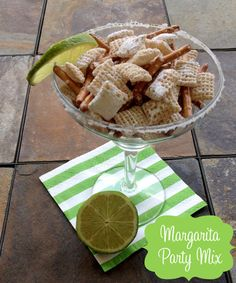 Easy no-bake Margarita Chex Mix! This is so good and super simple. What a fun party recipe idea.