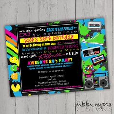 Totally 80s Party invitation