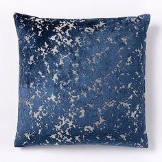 Jacquard Velvet Distressed Pillow Cover - Regal Blue #westelm