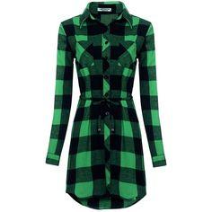 HOTOUCH Women's Long Sleeve Button Down Plaid Shirt Dress With Belt at... ($19) ❤ liked on Polyvore featuring dresses, longsleeve dress, long sleeve button up dress, tartan dress, green plaid dress and green tartan dress