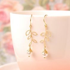 White Pearl Dangle Earrings Gold Leaf Dangle by MelagranaArt