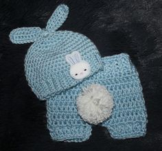 Boy Set, Sky Blue Baby Bunny Shorts and Hat, Easter Outfit, Boy Set, Easter Baby Boy, Newborn Photo Prop