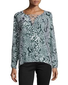 Cluny Long-Sleeve Python-Print Blouse, Black/White New offer @@@ Price :$197 Price Sale $71