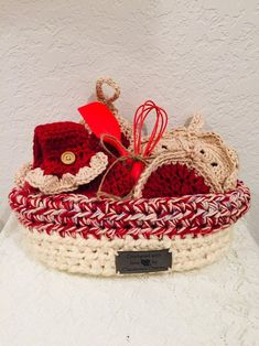 Handmade Crocheted 7 pc. Cherry Pie Potholders Trivet Towel Topper Scrubbie Utensils Kitchen Basket Gift Set FREE SHIPPING U.S. Kitchen Baskets, Kitchen Utensils, Basket Gift, Potholders, Travelers Notebook, Vintage Paper, Vintage Travel, Really Cool Stuff, Straw Bag