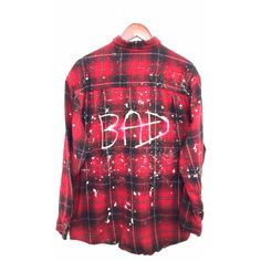 """Bleached Flannel Shirt """"BAD"""" in Red Black Plaid ($69) ❤ liked on Polyvore featuring tops, shirts, flannels, plaid, red plaid shirt, plaid shirts, red top, red plaid top and vintage flannel shirts"""