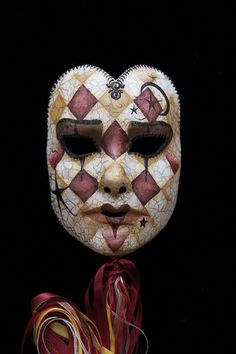 Harlequin style mask on Etsy★❤★ Harlequin Mask, Harlequin Pattern, Ceramic Mask, Venice Mask, Venetian Carnival Masks, Pierrot, Cool Masks, Beautiful Mask, Masquerade Party