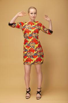 Luna  Afro - retro dress Retro Dress, Afro, African, Dresses With Sleeves, Women's Fashion, Inspired, Long Sleeve, Inspiration, Design