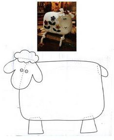 Free Embroidery Patterns Primitive Sheep - Her Crochet Sheep Crafts, Felt Crafts, Fabric Crafts, Sewing Crafts, Sewing Projects, Primitive Sheep, Primitive Patterns, Primitive Crafts, Motifs Primitifs