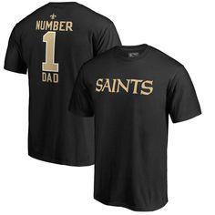 New Orleans Saints NFL Pro Line by Fanatics Branded Number 1 Dad T-Shirt - Black