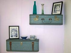 Vintage Luggage Suitcase Shelves in Shabby Blue by HeatherMBC, $95.00