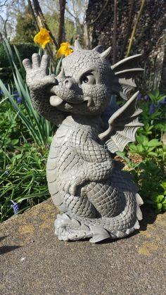 Gartenfigur Drache Steckt Zuge Raus Drachen Figur