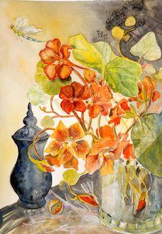 les capucines de Marie,aquarelle florale contemporaine : Peintures par cyane